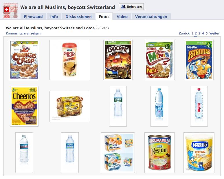 Ausschnitt der zum Boykott aufgerufenen Artikel (Quelle:facebook.com)