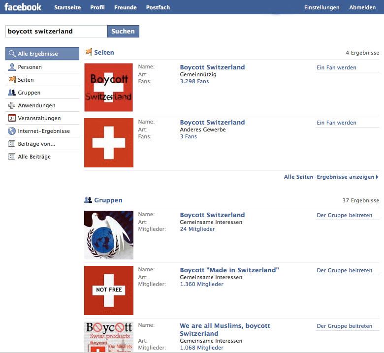 Auszug der Facebook Boykott-Gruppen (Bild:facebook.com)