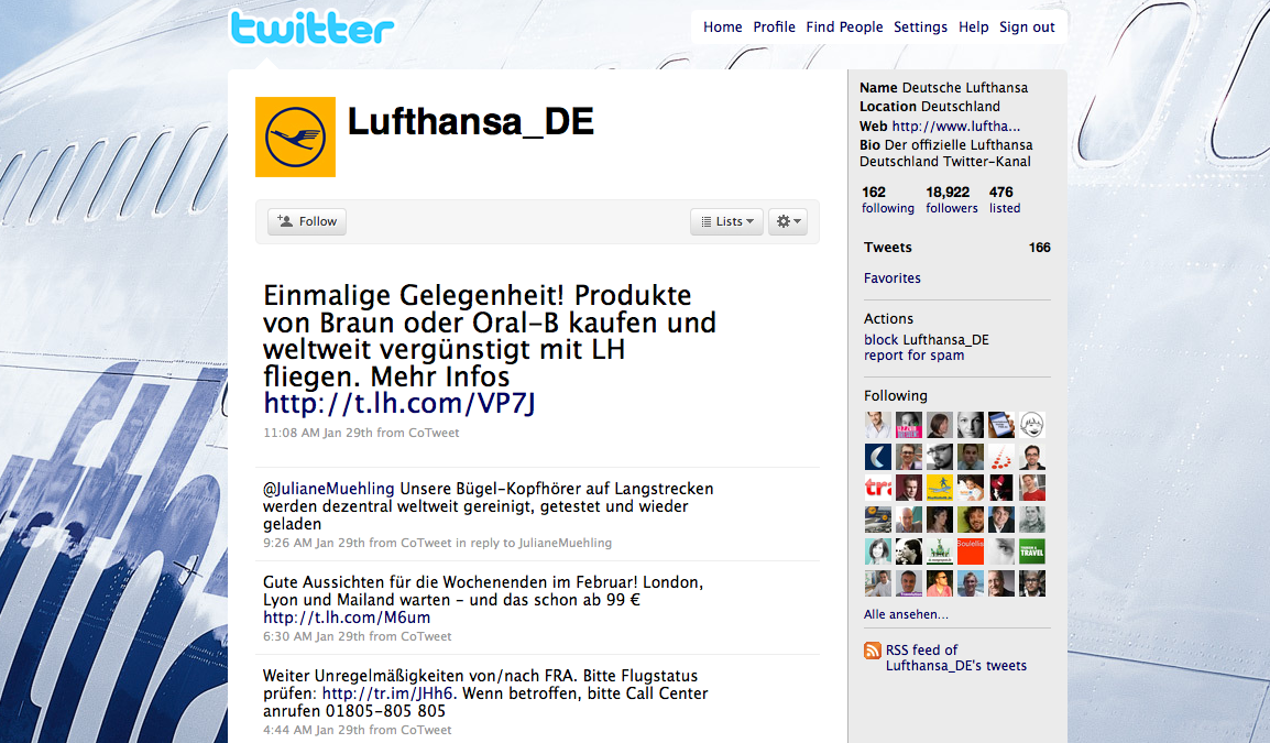 Screenshot des Luthansa Twitter-Accounts